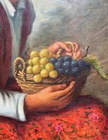 The Fruit Seller - Attractive Original Early 1900s Italian Oil Portrait Painting (5 of 10)