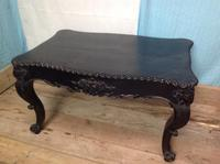 Late 19th Century French Ebonised Ebony Verneer Over Mahogany Hall Table with Carved Floral Pattern Two End Drawers (3 of 8)