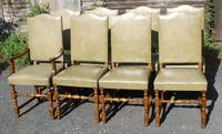 1960s Light Oak Set of 8 Dining Chairs Green Leather Seats