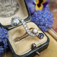 Antique Edwardian 15ct Gold Diamond & Sapphire Upfinger Dress Ring (2 of 12)