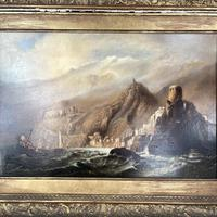 Antique Victorian Large Marine Seascape Oil Painting of Sailing Boats (4 of 10)