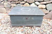 Scandinavian / Swedish 'Folk Art' original paint green/blue large table/alms/bible box raised on feet 1852 (2 of 36)