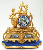 Stunning Complete French Mantel Clock Under Dome with Base Figural Sevres Mantle Clock. (9 of 10)