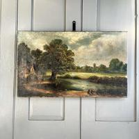 Antique English River Landscape Oil Painting After Constable Signed R Watts 1843 (2 of 10)