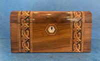 Victorian Walnut Jewellery Box with Tunbridge Ware Inlaid Bands (2 of 11)
