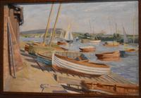 Boats in Harbour Oil Painting by Marjorie Mort (1906-1988) (3 of 6)