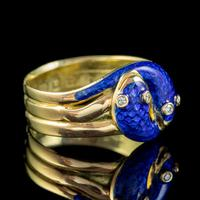 Antique Victorian Diamond Blue Enamel Snake Ring 18ct Gold Dated 1894 (7 of 7)