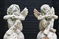 Pair of Terracotta Cherub Garden Sculptures (9 of 12)