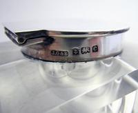Elegant Large CUBE Antique Edwardian Solid Sterling Silver & Cut Glass English Inkwell Ink Pot Box, Plain 1902 (7 of 8)