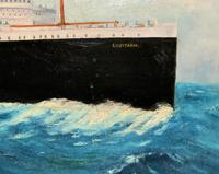 Huge Stunning Antique Seascape Oil Painting of Cunard's RMS Lusitania Ship c.1918 (5 of 16)