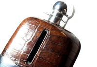Antique Victorian Silver Plated & Crocodile Leather Hip Flask c.1890 (5 of 11)