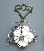 A Fine Silver Plate Warwick Type Cut Glass 5 Bottle Cruet C.1863/64 (6 of 9)