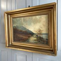 Antique Scottish Landscape Oil Painting with Sheep on Track by Loch Signed B Clark 1918 (7 of 10)