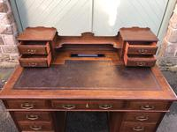 Antique Oak Pedestal Writing Desk (Pri) (9 of 13)