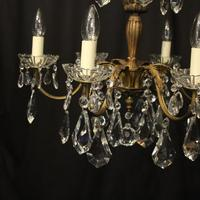 French Gilded 6 Light Chandelier c.1930 (2 of 10)