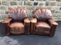 Pair of Leather Club Armchairs