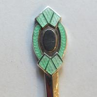 A cased set of silver, green-enamelled coffee spoons in the Art Deco manner (2 of 9)