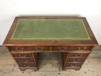 Late 20th Century Yew Wood Pedestal Kneehole Desk (11 of 14)