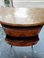 French Walnut Commode with Marble Top & Metal Marquetry (3 of 7)
