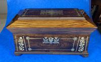 Regency Rosewood Brass Foliate Inlaid Tea Caddy (4 of 15)