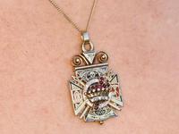 0.29ct Diamond, 0.20ct Ruby & Enamel, 12ct Yellow Gold Masonic Pendant / Watch Fob - Antique c.1900 (15 of 15)