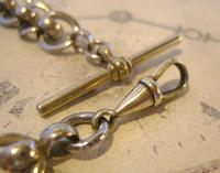 Antique Pocket Watch Chain 1920s Large Silver Nickel Fancy Link Albert With T Bar (7 of 10)