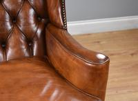Victorian Hand Dyed Brown Leather Wing Back Armchair (9 of 13)