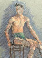 Russian School? Superb 1952 Signed Charcoal Portrait Sketch A Male Model Dancer (3 of 10)