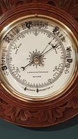 Superb Antique Oak Carved Dundee Barometer (4 of 6)