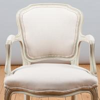 Pair of Large French Louis XV Style Painted Upholstered Armchairs (8 of 9)