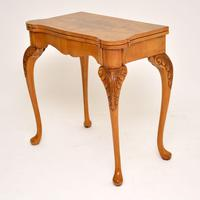 Antique Queen Anne Style Burr Walnut Card Table (4 of 11)