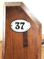 Antique Pitch Pine Church Pew with Enamel Number 37 (M-1639) (11 of 12)