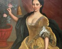 Huge Early 18th Century French Oil Portrait Painting of 'Lucy Webb, Heiress of Ashwick' (6 of 17)