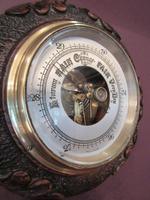 Antique Carved Oak Visible Works Barometer (3 of 5)