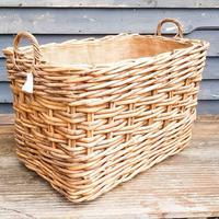Large Wicker Log Basket on Wheels (2 of 6)