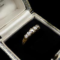 Antique Victorian Old Cut Diamond Five Stone 18K Gold Scroll Ring (2 of 10)