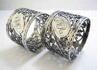Pair of Antique English Victorian Style Solid Sterling Silver Serviette Napkin Rings. Cased / Original Box (3 of 7)
