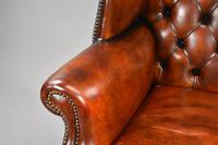 George II Style Brown Leather Hand Dyed Wingback Armchair (10 of 17)