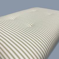 Buttoned Sage Green Ticking Stripe Footstool (2 of 6)