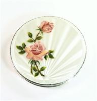 Lovely Mid Century Sterling Silver Compact Mirror with Pink Roses & White Guilloche Enamel (2 of 7)