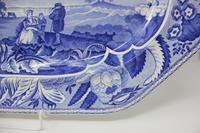 Antique Blue & White Pearlware Parkland Scenery Platter (9 of 12)