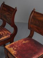 Rare Pair of Brass Inlaid Mahogany & Leather Library Chairs (8 of 19)