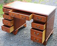 1960s Yew Wood Pedestal Desk with Green Leather Top (3 of 5)