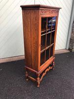 Antique Slim Glazed Oak Bookcase (4 of 11)