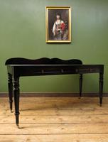 Antique Black Ebonized Console Table with Drawers & Moustache Back (14 of 22)