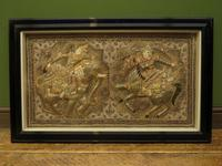 Framed Vintage Balinese Embroidered Tapestry of Two Gentlemen Warriors (2 of 12)