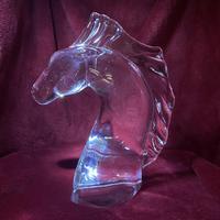 "Daum ""tete de Cheval"" Crystal Horse Head Sculpture c.1960 (3 of 9)"