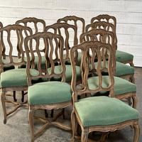 Set of 10 French Bleached Oak Farmhouse Dining Chairs (4 of 16)