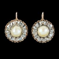 Antique Victorian Rose Cut Diamond Natural Pearl Earrings 3.60ct of Diamond 18ct Gold c.1880 (2 of 7)