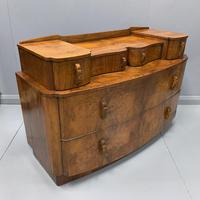 Art Deco Bow Front Chest of Drawers in Walnut (4 of 8)